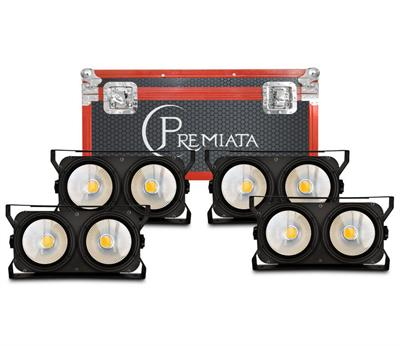 CASE 4 EN 1, BLINDER  2 X 100 WATTS, BLANCO CALIDO, BLANCOFRIO, Panel ,Programación integrada 8 canales DMX512 LED