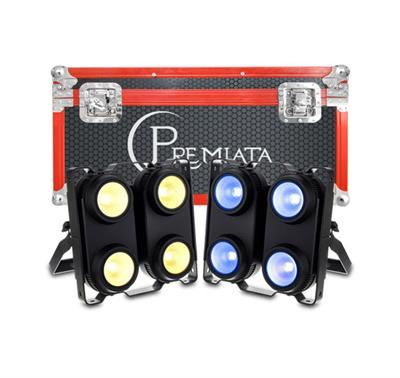 CASE 2 en 1, BLINDER LED 4 X 100 WATTS, 4 EN1 RGBW, Panel Programación integrada 8 canales DMX512 LED.